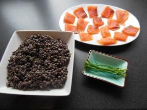 Ingredients de la recette des lentilles au saumon